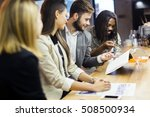 group of people discussing the... | Shutterstock . vector #508500934