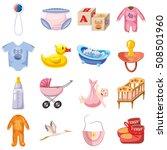 Baby Born Icons Set. Cartoon...
