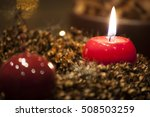 advent wreath with four burning ... | Shutterstock . vector #508503259