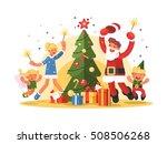 happy family celebrating xmas | Shutterstock .eps vector #508506268