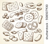vector set sketch snack food.... | Shutterstock .eps vector #508507930