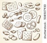 vector set sketch snack food.... | Shutterstock .eps vector #508507930