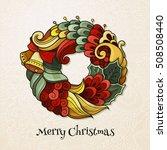 round composition wreath in... | Shutterstock .eps vector #508508440