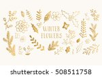 winter flowers. hand drawn ink... | Shutterstock .eps vector #508511758
