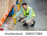 portrait of smiling warehouse... | Shutterstock . vector #508517380