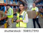 portrait of female warehouse... | Shutterstock . vector #508517593