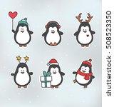 christmas penguin characters  ... | Shutterstock .eps vector #508523350