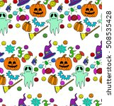the halloween set pumpkin party ... | Shutterstock .eps vector #508535428