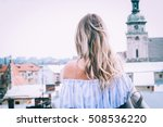 beautiful blonde travel and... | Shutterstock . vector #508536220