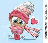 Cute Cartoon Owl In A Hat And...