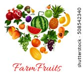 fruits icons in heart shape.... | Shutterstock .eps vector #508542340