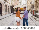 young couple in love traveling  ... | Shutterstock . vector #508548880