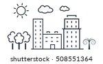 city  illustration in thin line ... | Shutterstock . vector #508551364