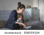 young pregnant mother with... | Shutterstock . vector #508559104