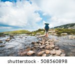 hiker man with backpack... | Shutterstock . vector #508560898