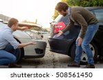 two men arguing after a car... | Shutterstock . vector #508561450