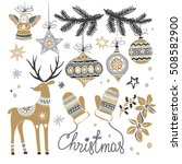 christmas hand drawn set with... | Shutterstock .eps vector #508582900