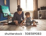 young pregnant mother with... | Shutterstock . vector #508589083
