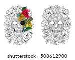 sugar skull   coloring book... | Shutterstock . vector #508612900