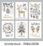 christmas hand drawn cards with ... | Shutterstock .eps vector #508613038