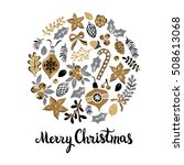 hand drawn card with merry... | Shutterstock .eps vector #508613068