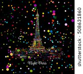 night paris cityscape with... | Shutterstock .eps vector #508631860