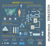 water or h2o infographic with... | Shutterstock .eps vector #508633534