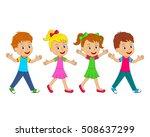 kids little boys and girls go... | Shutterstock .eps vector #508637299