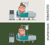 grandma resting at hospital bed ... | Shutterstock .eps vector #508640350