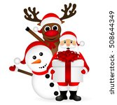 Santa Claus With Snowman And...
