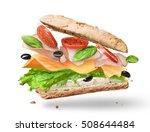 ciabatta sandwich with lettuce  ... | Shutterstock . vector #508644484