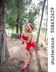 sexy santa girl in red dress in ... | Shutterstock . vector #508652629