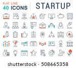 set vector line icons startup... | Shutterstock .eps vector #508665358