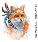 fox with red and blue feathers. ... | Shutterstock . vector #508669414