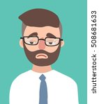 a sad young hipster man with... | Shutterstock .eps vector #508681633