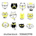 cats  set of cute doodle | Shutterstock .eps vector #508682998