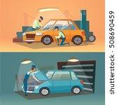 scenes of car repair vector... | Shutterstock .eps vector #508690459