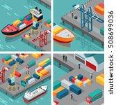 set of cargo port ... | Shutterstock . vector #508699036