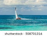 silhouette of a fly board rider ... | Shutterstock . vector #508701316