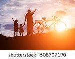 biker family silhouette father...   Shutterstock . vector #508707190