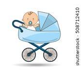 beautiful baby on pram blue... | Shutterstock .eps vector #508712410