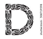 polynesian tattoo initials.... | Shutterstock .eps vector #508719598