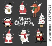 christmas card with cute santa... | Shutterstock .eps vector #508734718