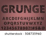 grunge scratched old typeset... | Shutterstock .eps vector #508735960