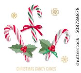 Set of candy canes with snowflakes. Vector isolated holiday elements for your design on white background.