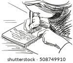 sketch of girl writing in... | Shutterstock .eps vector #508749910