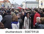 warsaw   april 11  a crowd... | Shutterstock . vector #50875918