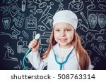 little girl in doctor costume... | Shutterstock . vector #508763314