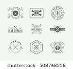 set of vintage mechanic label ...   Shutterstock .eps vector #508768258