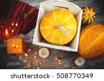 autumn pumpkins on shabby... | Shutterstock . vector #508770349